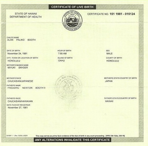 Alabama democratic party submits different obama birth certificate here is virginia sunaharas death certificate doesnt say void yadclub Images