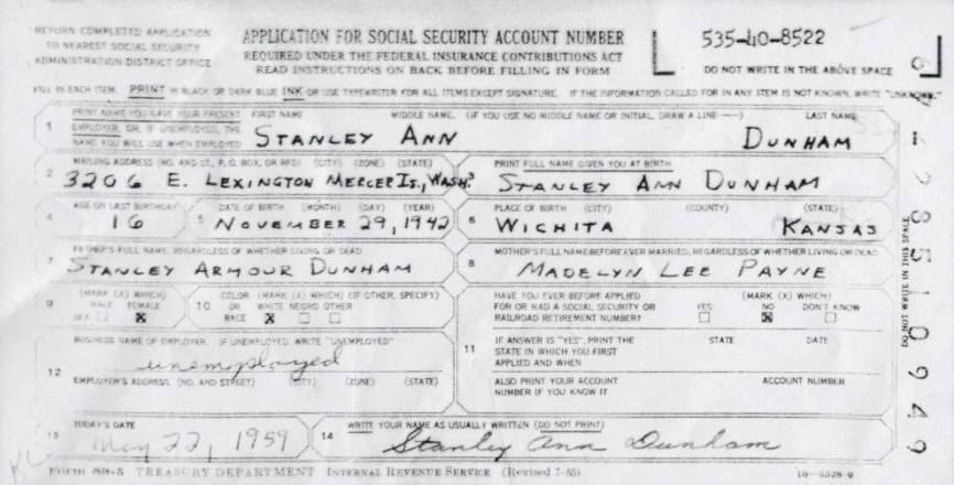 Stanley Ann Dunham Social Security Administration Application