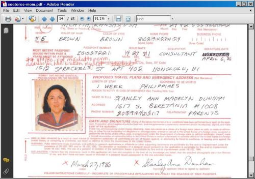 Stanley Ann Dunham  to Philipines April 6 1986  Passport File Page 14, Signature