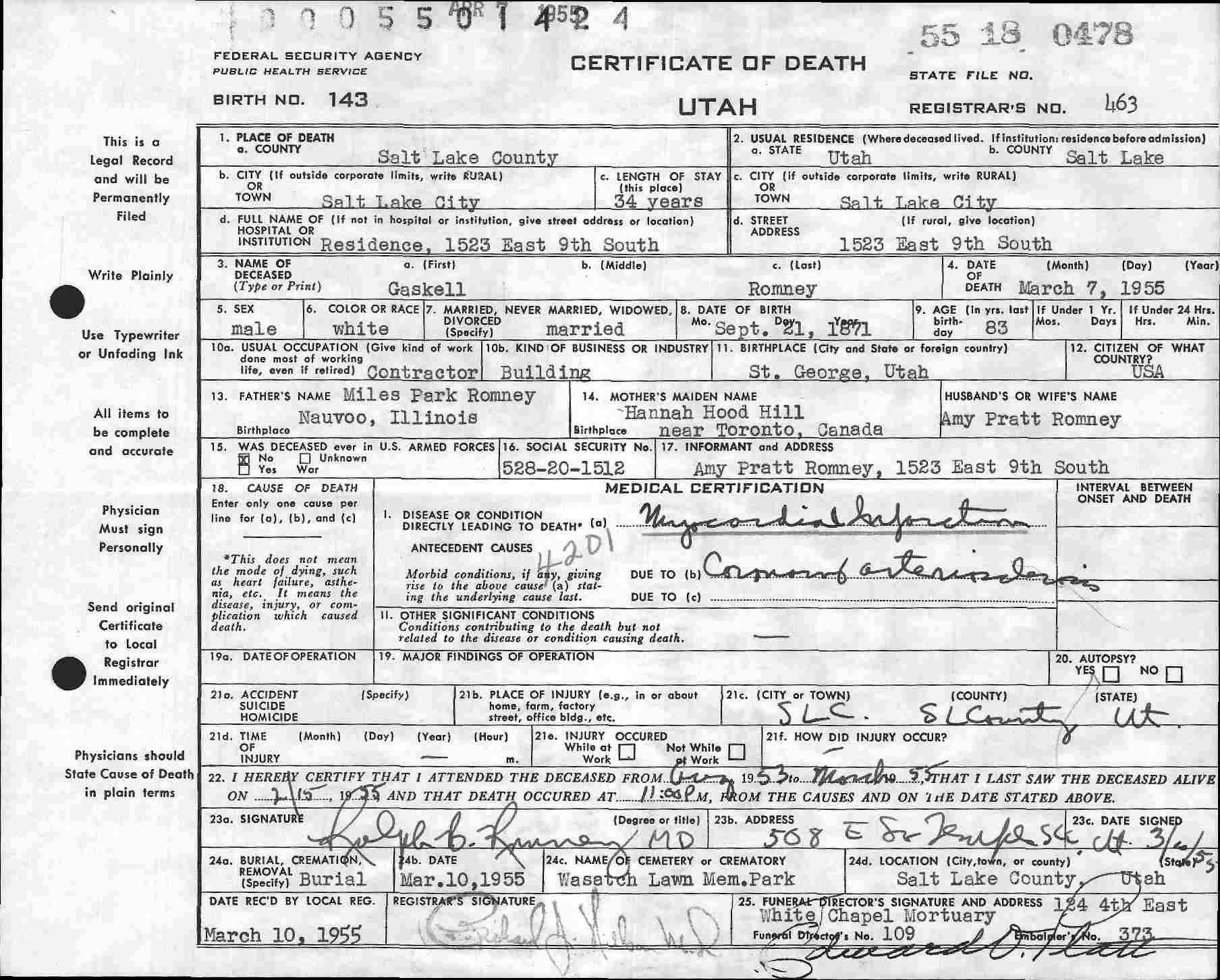 Mitt romney natural born citizenship and media bias 5x updated gaskell romney death certificate aiddatafo Images
