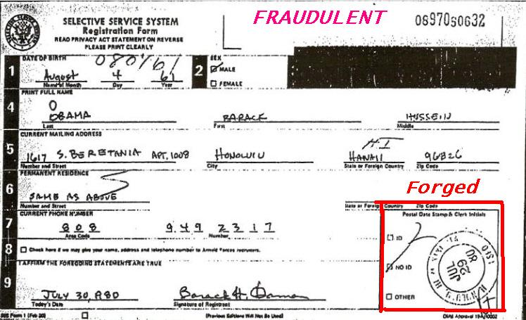 ObamaS Selective Service Card Fraud Bombshell  We The People Of