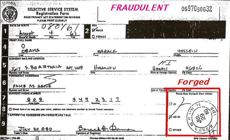 Obamas Selective Service Card Fraud Bombshell – Selective Service Registration Form