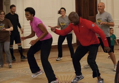 Michelle Obama exercises in the White House