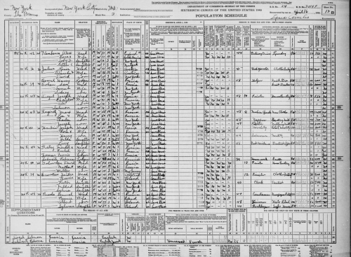 Harry Bounel - 1940 Census, The Bronx, New York City