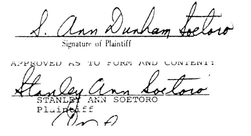 Signatures from Stanley Ann and Lolo Soetoro divorce papers.  First signature from July 1980.  Second signature from November 1980.