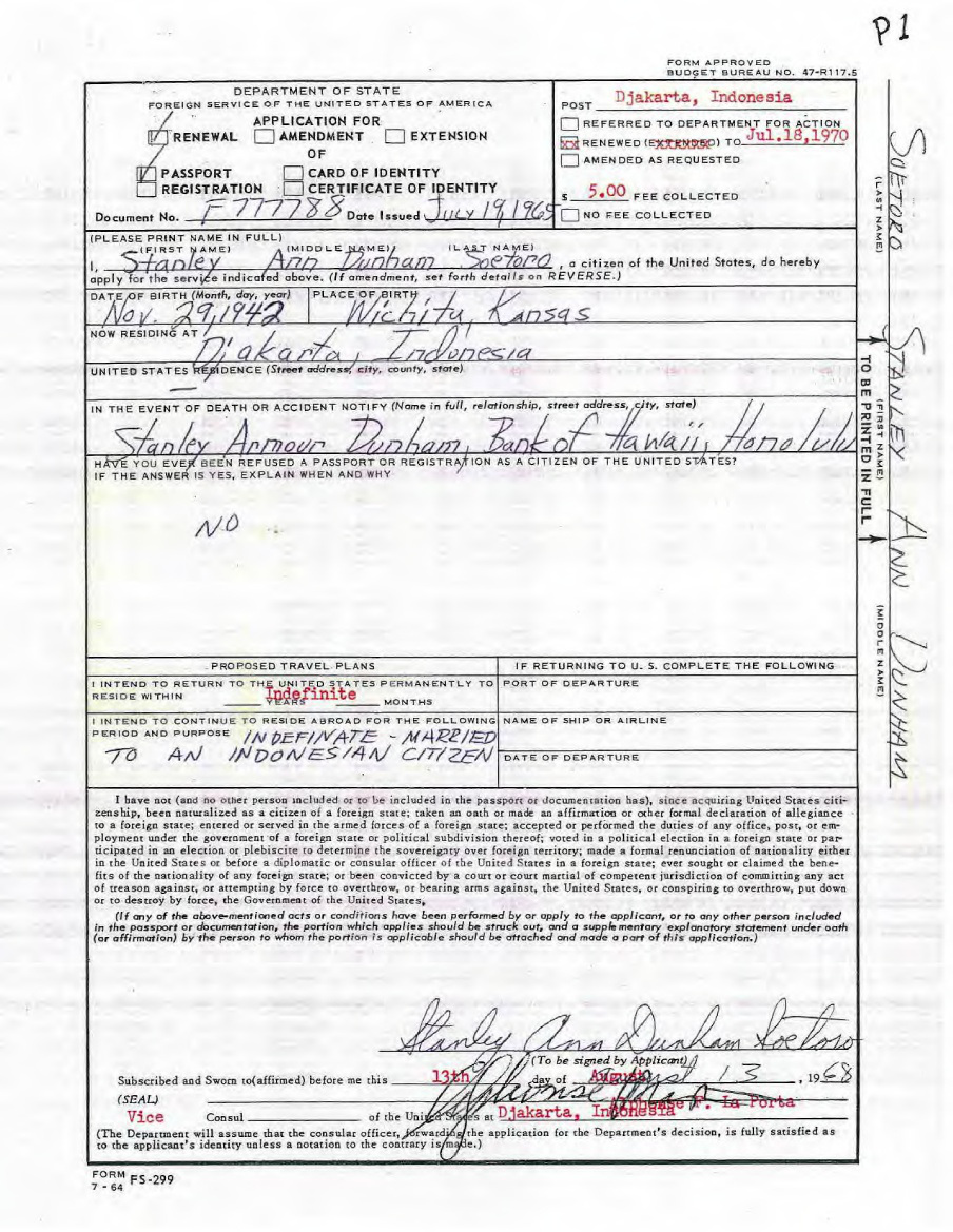 Obama Mystery Theater Stanley Anns Passport Renewal Of 1968 We