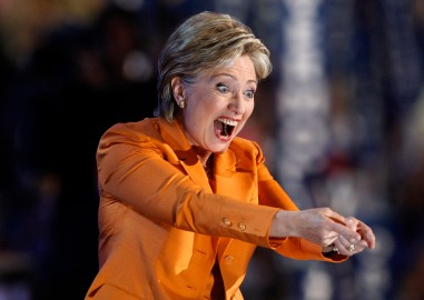 U.S. Senator Hillary Clinton gestures from the stage at the 2008 Democratic National Convention in Denver